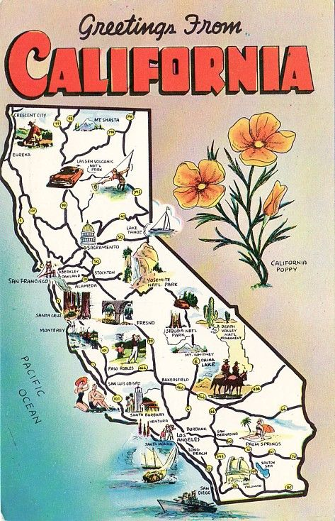 """Greetings from California"" map postcard ... illustrated with scenic highlights and state symbols, c. 1950s-1960s, USA"