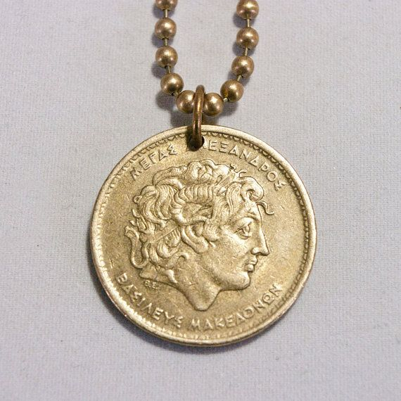 Coin necklace 19 pinterest greece alexander the great coin necklace pendant charm 100 drachmas greek coin jewelry this mozeypictures Choice Image