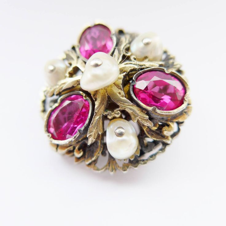 Stunning Vintage Austro Hungarian Silver Gilt Brooch Set With Rubies & Pearls - Ruby Wedding Anniversary by rubyandjules on Etsy