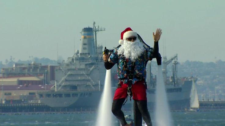 Jet Pack Santa Makes a Splash in San Diego - Seaport Village