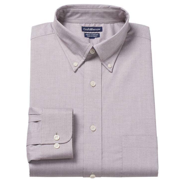 Men's Croft & Barrow® True Comfort Fitted Oxford Stretch Dress Shirt, Size: 15.5-32/33, Dark Brown