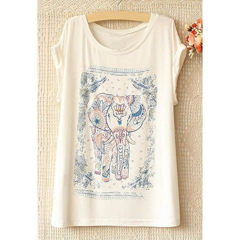 National Style Elephant Pattern Short Sleeve Women's T-Shirt, WHITE, ONE SIZE in Tees & T-Shirts | DressLily.com