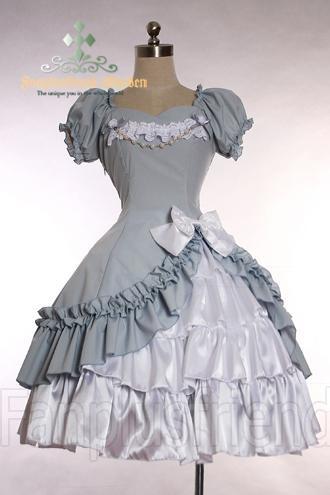 Gothic Lolita Bias Trimmings Pearls Dress