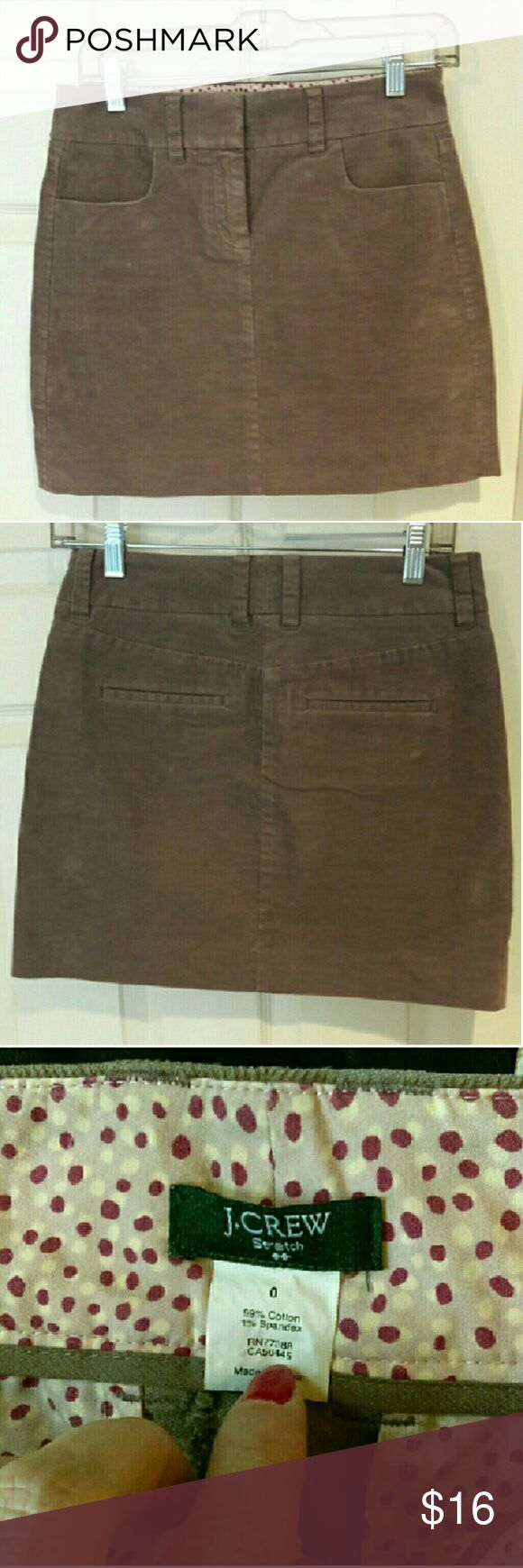 J. Crew - corduroy mini skirt EUC. Very cute mini skirt to wear on a night out with the girls! Awesome corduroy material. Tan in color. From a smoke and pet free home. Very fast shipping.  *No trades  *All offers considered  *I take offers on bundles J. Crew Factory Skirts Mini
