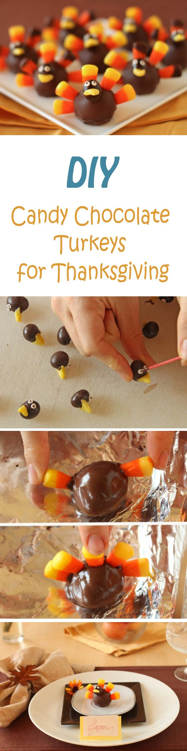 DIY Candy Chocolate Turkeys for Thanksgiving