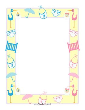 This Baby Shower Border Features A Yellow Frame Overlaid
