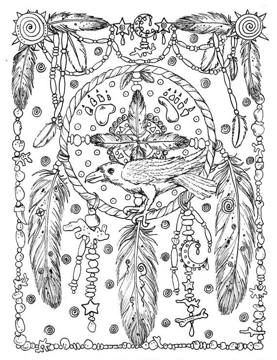 5 Pages Instant Download Animal Spirits To Color Wolf Raven Crow Eagle Bear Native American Art Coloring Adult Color Book Digi Stamp Coloring Books Horse Coloring Pages Cat Coloring Page