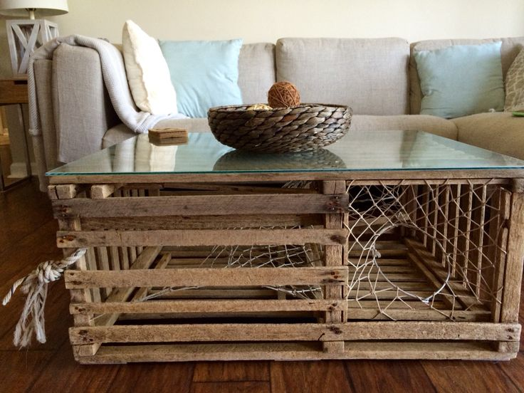 Dad's old lobster trap I grew up with easily turned into a coffee table