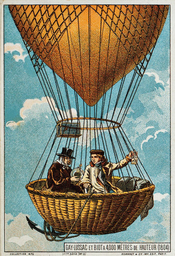 "Gay-Lussac & Biot at 4000 meter altitude (1804), early flight collecting card, ca. 1895 French scientists Joseph Louis Gay-Lussac and Jean-Baptiste Biot reach an altitude of 4000 meters on 24 August 1804, and a new record of 7016 meters a few days later, on 16 September. The first card from an uncut set of ten, labeled ""Collection 476, 2ème série"", issued by Romanet & Cie. in the late 19th Century, to commemorate events in ballooning history from 1795 to 1846."