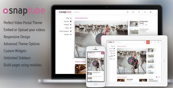 Download Snaptube-Premium Video WordPress Theme