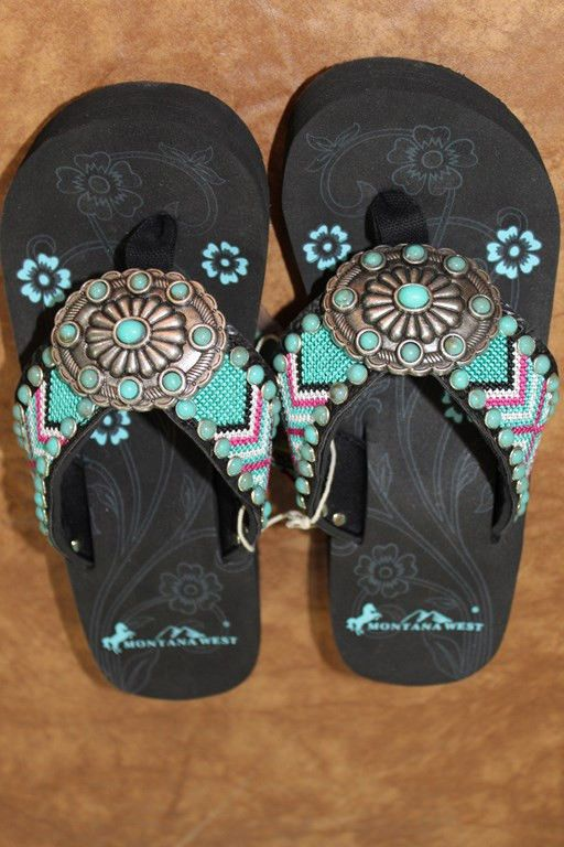 Montana West Cowgirl Western Stone Bling Flip Flops Wedge Sandals Aztec AJ6 #MontanaWest #FlipFlops Might be too wide