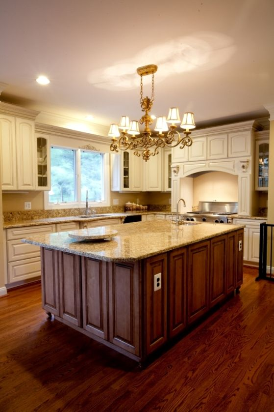 Golden Beach Granite with two tone cabinets. Granite by Granite Grannies (granitegrannies.com) #granite