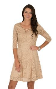 Jody Women's Light Tan Lace Dress   Cavender's