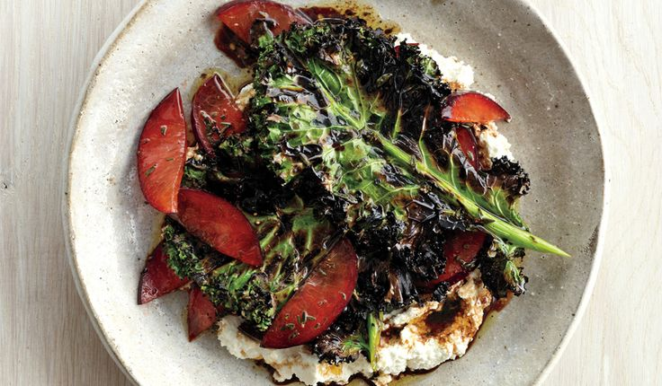Grilled Kale Salad with Ricotta and Plums - Bon Appétit
