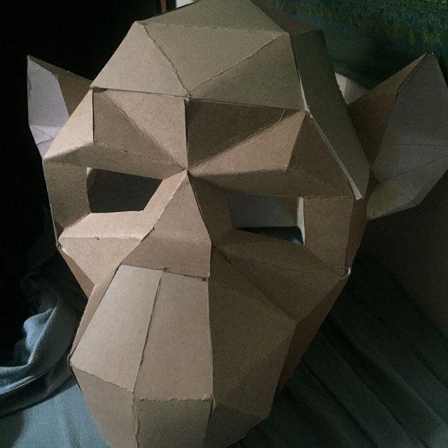 Make Baboon Monkey Mask,Ape mask,Polygon Mask,DIY Paper,PDF,Face Mask,Papercraft,Template,Printable Helmet,3D mask,Paper Mask,Halloween