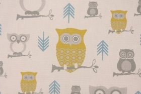 Premier Prints Hooty Cotton Drapery Fabric in Summerland/Natural $7.48 per yard: Prints Cotton, Cotton Fabrics, Cotton Drapery, Fabrics Like Guru, Fabrics Stores, Discount Fabrics, Drapery Fabrics, Fabrics Wall, Fabrics Remnant