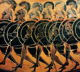 Etruscan art: Hoplite formation, originally a Sumerian military tradition