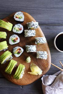 Easily make sushi at home with your favorite veggies and can even add any protein you'd like! You don't even need to own a rice maker or sushi mat!