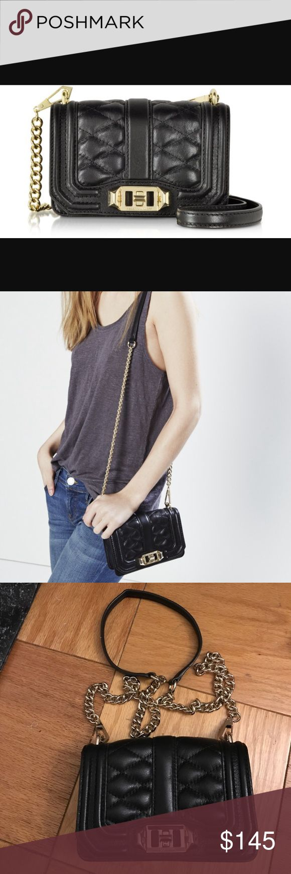 Rebecca minkoff quilted love bag Beautiful Rebecca Minkoff Black Quilted love bag. Only worn once. Get it while you can! Price negotiable. ONE Day SALE Rebecca Minkoff Bags Crossbody Bags