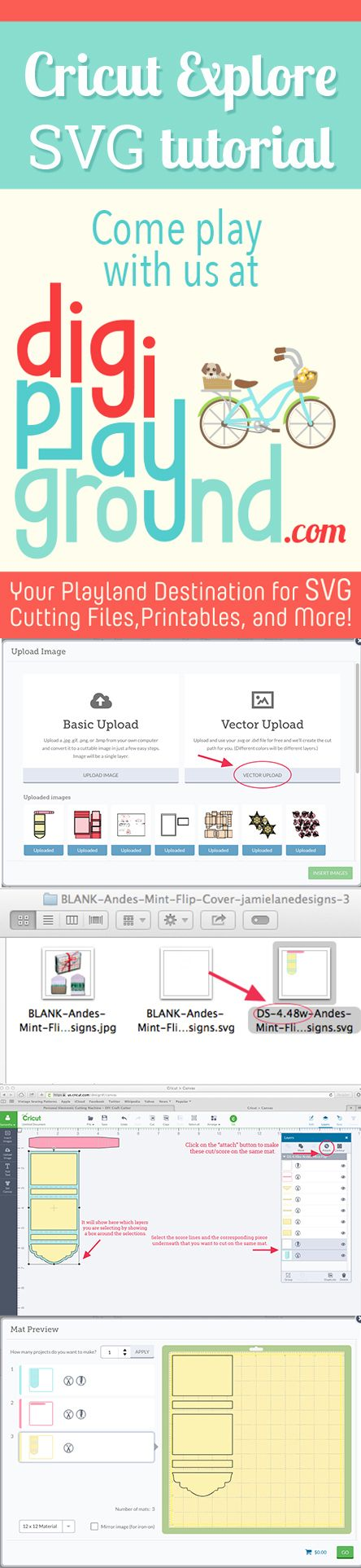 Fantastic tutorial guiding you through the process of using digiplayground.com SVG conversions for the Cricut Explore in your Design Space Software. This tutorial features a FREE 3D SVG file, that you can get in the store.