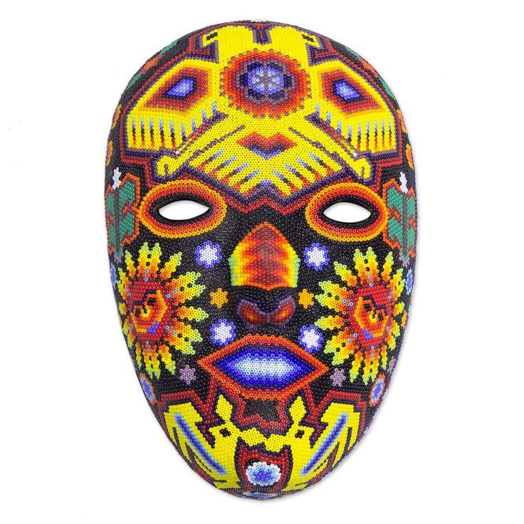 Huichol Beaded Mask Folk Art Handmade 'Duality of the Gods' NOVICA Mexico