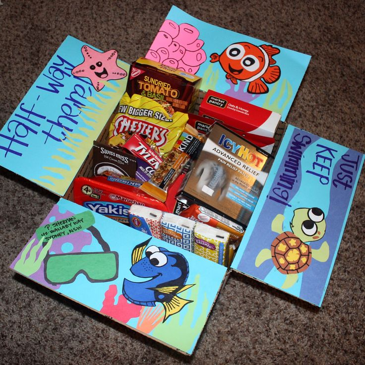 Deployment care packages! Finding Nemo Edition. I made this for my love to celebrate making it half way through our first deployment!!