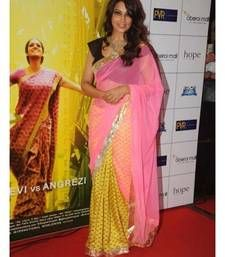 Buy Bipasha Basu Yellow and Pink Heavy Saree bipasha-basu-saree online