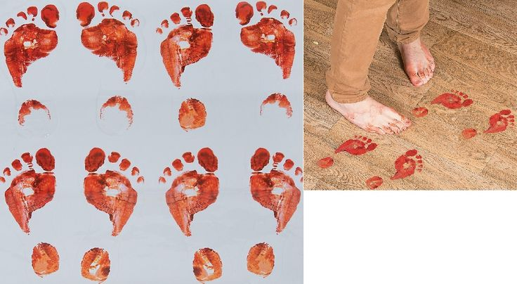 Bloody Footprints Floor Clings (8).  Dare your guests to follow these scary steps! You can create a shocking entrance to your Halloween or spooky party with these Bloody Footprint Decals. This is one awesome decorating idea that will let you put your best foot forward!  Includes 8 x plastic 10.2 cm x 21.6 cm footprints on 1 roll.