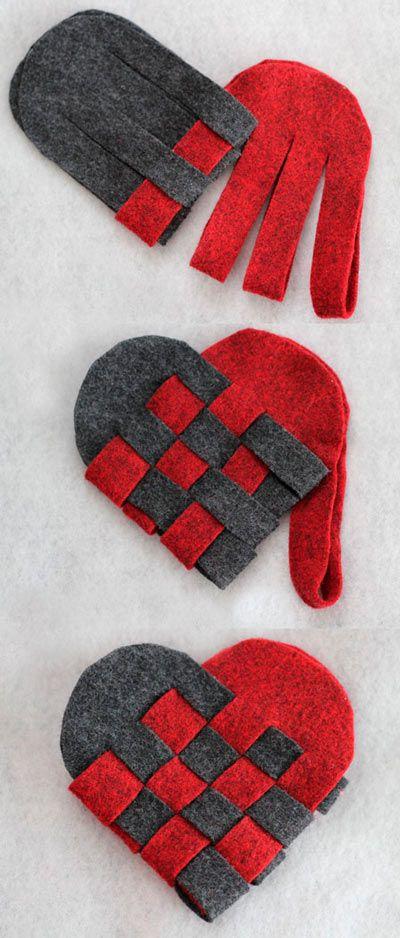 manualidad para hacer corazones con fieltro trenzado