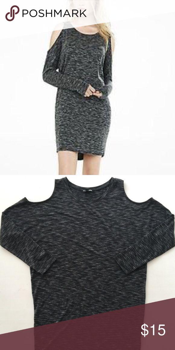 Express Cold Shoulder Dress Grey long sleeve dress with cold shoulder detail. Worn once. Express Dresses