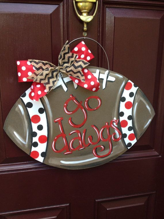 Football Door Hanger UGA Door Hanger Georgia by TheGildedPolkaDot