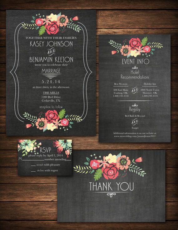 <3 LOVELY <3 DIY Printable Chalkboard Floral Wedding by KristianRatnamDesign, $35.00
