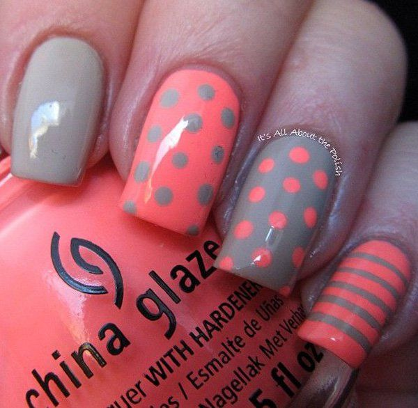 Pink and gray polka dot and stripes nail art design. A modern and very cute nail art design that you can play along with and paint on alternatively each nail.