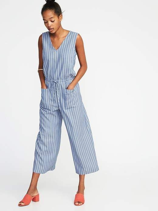 Waist Defined Sleeveless Utility Jumpsuit For Women Products