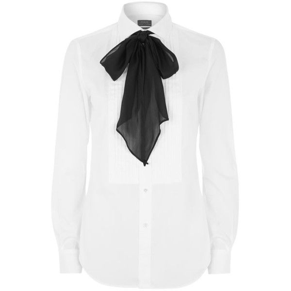 Polo Ralph Lauren Lindsay Tuxedo Pussybow Shirt found on Polyvore featuring tops, blouses, shirts, tux shirt, button front shirt, white blouse, white tuxedo and shirts & blouses