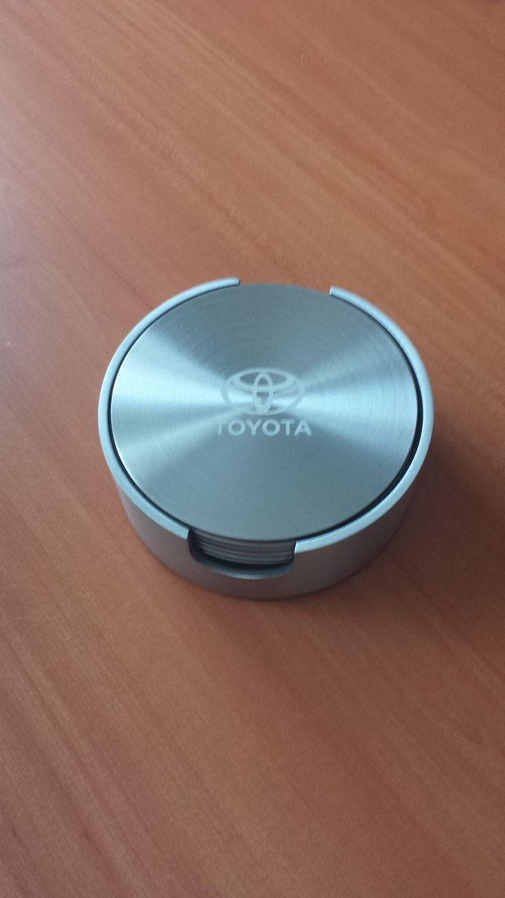 Stainless steel coasters. Laser engraved for Toyota.