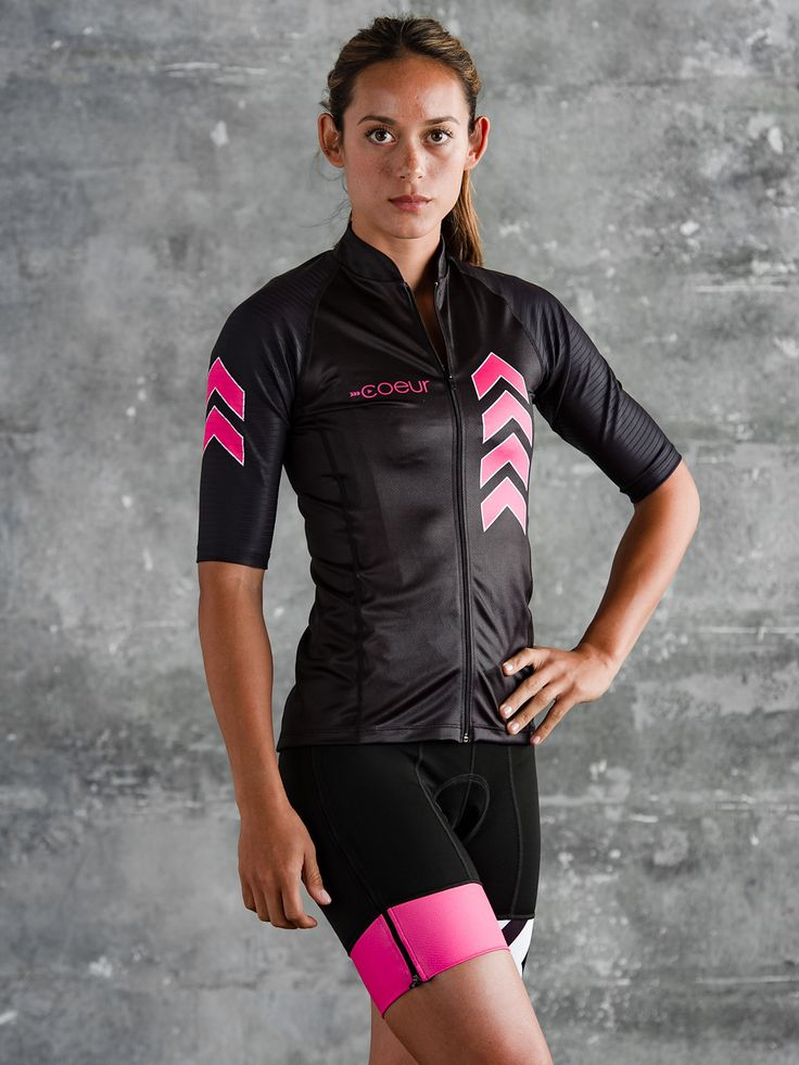 Zele Women's Speed Cycling Jersey - Pink and Black