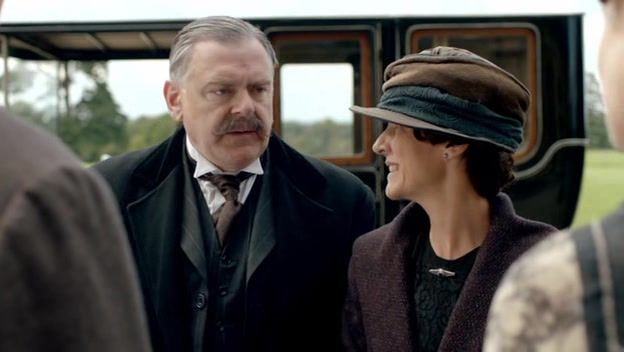 Horace & Daphne Bryant (Kevin McNally, Christine Mackie) arrive at Downton to see where their son, the late Maj. Charles Bryant, was quartered, early 1919.