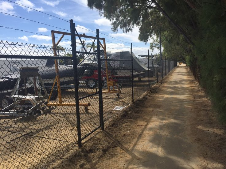 Black chain mesh installation at South Perth Yacht Club.