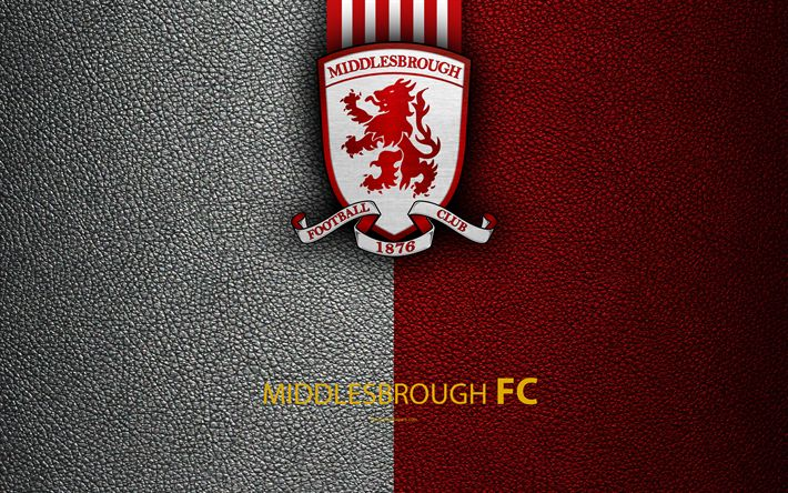 Download wallpapers Middlesbrough FC, 4K, English Football Club, logo, Football League Championship, leather texture, Middlesbrough, UK, EFL, football, Second English Division
