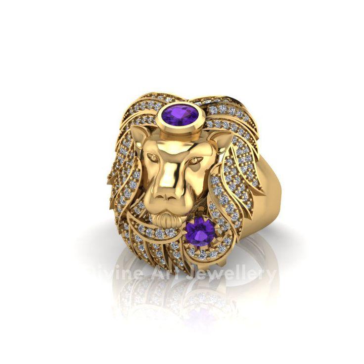 Animal Jungle Ruler Warrior King Lion Ring Purple Amethyst Mens Wedding Band His #DAJ #Band