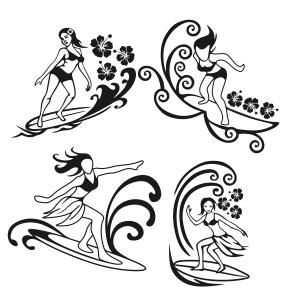 Summer Beach Surfer Girl Cuttable Design Cut File. Vector, Clipart, Digital Scrapbooking Download, Available in JPEG, PDF, EPS, DXF and SVG. Works with Cricut, Design Space, Sure Cuts A Lot, Make the Cut!, Inkscape, CorelDraw, Adobe Illustrator, Silhouette Cameo, Brother ScanNCut and other compatible software.