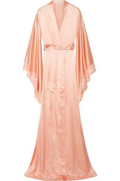 La Perla - Azalea Leavers Lace-trimmed Satin Robe - Peach