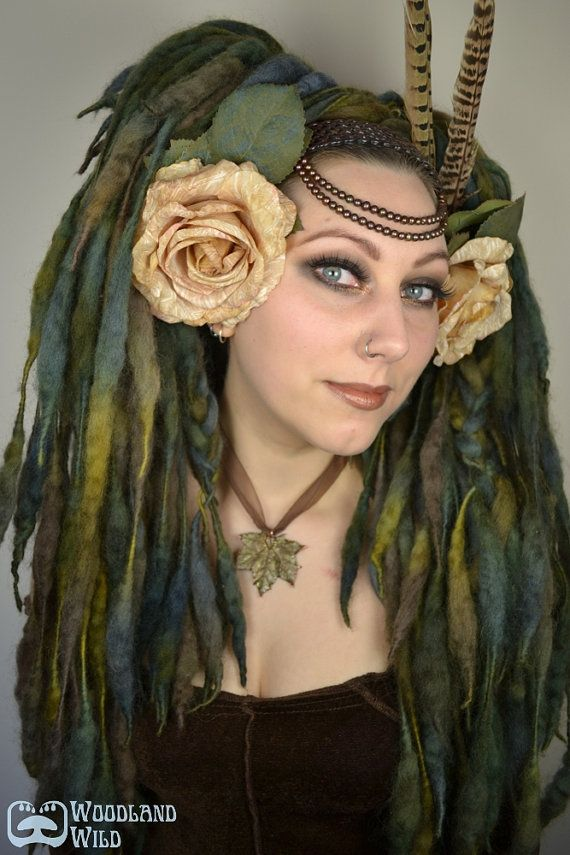 Dryad ELFLOCKS Dreadlocks Dread Falls in Green/Brown/Grey for Cosplay, LARP, Clubbing, Tribal Belly Dance, Festivals, Alt Fashion