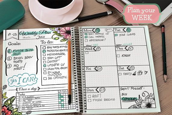 Printable Undated Weekly Planner pages for bullet journal, digital