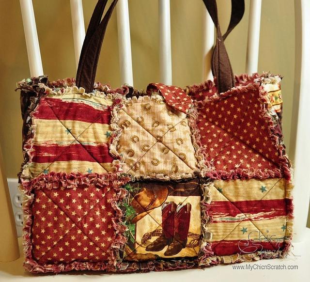 western rag quilt purse