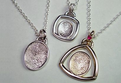 FINGERPRINT JEWELRY - FROM  With fingerprint jewelry, people can wear a memento of those they adore every day. These capture the actual touch of a loved one, from a grandmother's fingerprint to a baby's toe swirls, which can be carried with them always.   From  at Jewelry That Matters