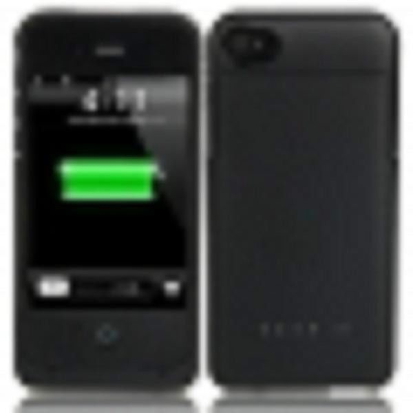 1900mAh Rechargeable External Lithium Battery for iPhone 4/4S in a black case