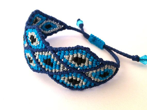 Macrame BraceletEvil Eye BraceletMicromacrame Jewerly by MACRANI