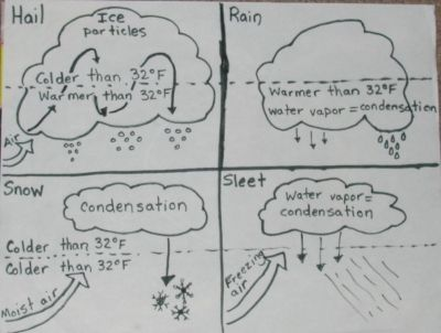 SC.5.E.7.4 Distinguish among the various forms of precipitation (rain, snow, sleet, and hail), making connections to the weather in a particular place and time. Clouds and Precipitation Lesson.